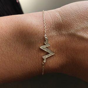 Vermeil Crystal Gold Heartbeat Bracelet Jewelmint